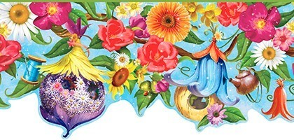 Wandtattoos: Bordüre Wildblumen