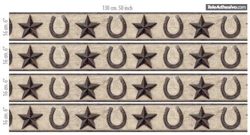 Wandtattoos: Bordüre Sterne und Hufeisen