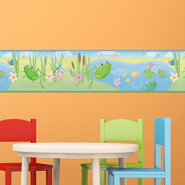 Kinderzimmer Wandtattoo: Bordüre Frösche Teich