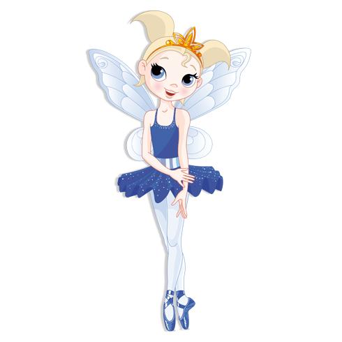 Kinderzimmer Wandtattoo: Fee Ballerina Blau
