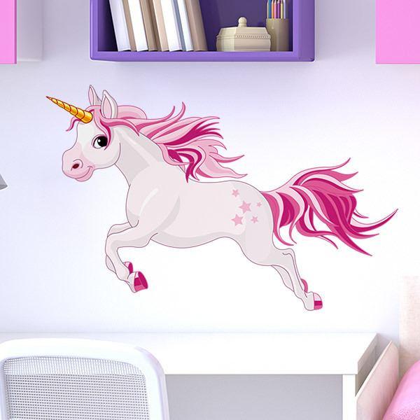 Kinderzimmer wandtattoo pferd einhorn rosa 2 - Einhorn kinderzimmer ...