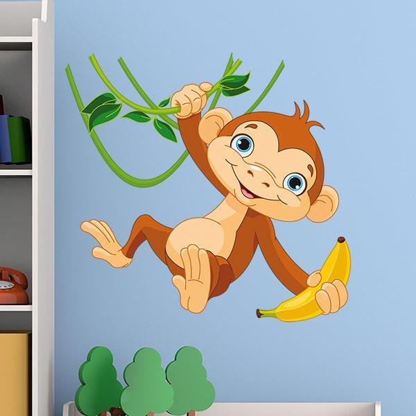 Wandtattoo kinder Affe hing mit einer Banane | WebWandtattoo.com
