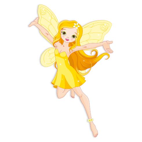 Kinderzimmer Wandtattoo: Gelb Fairy fliegen