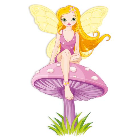 Kinderzimmer Wandtattoo: Fairy sitzend auf Pilz 2