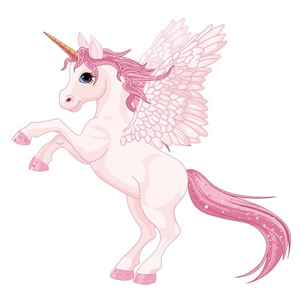 kinderzimmer wandtattoo einhorn mit rosa flügeln