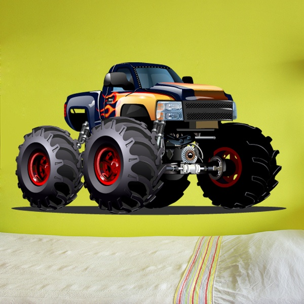 Kinderzimmer Wandtattoo: Monster Truck dunkelblau und orange