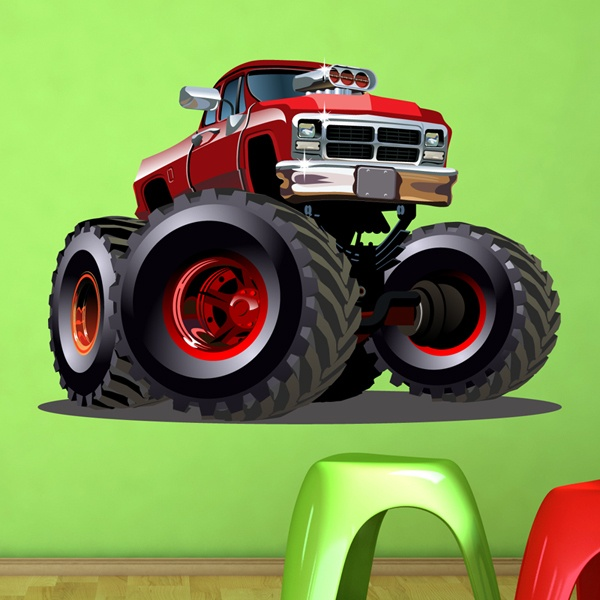 Kinderzimmer Wandtattoo: Monster Truck Ranchera rot
