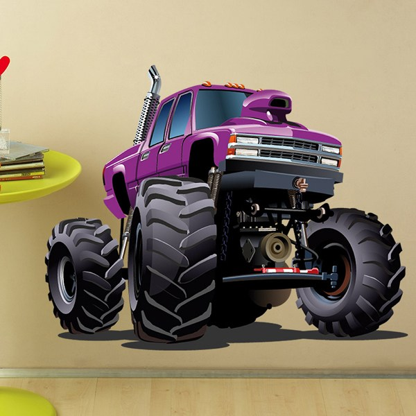 Kinderzimmer Wandtattoo: Monster Truck Violett