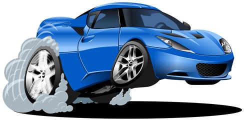 Kinderzimmer Wandtattoo: Blaues Auto Beschleunigung
