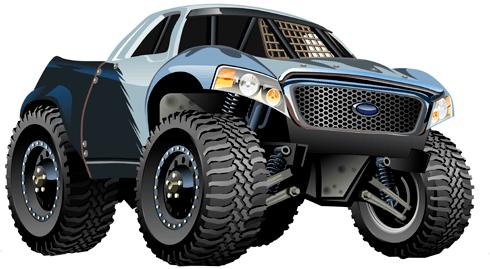 Kinderzimmer Wandtattoo: Monster Truck Pickup Ford