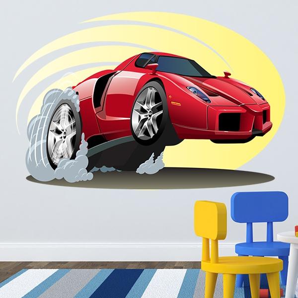 Kinderzimmer wandtattoo red sports car - Wandtattoo kinderzimmer auto ...