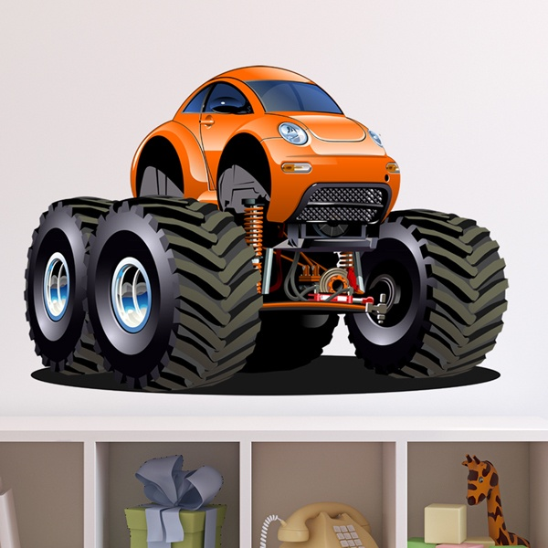 Kinderzimmer Wandtattoo: Monster Truck Orange Käfer Käfer