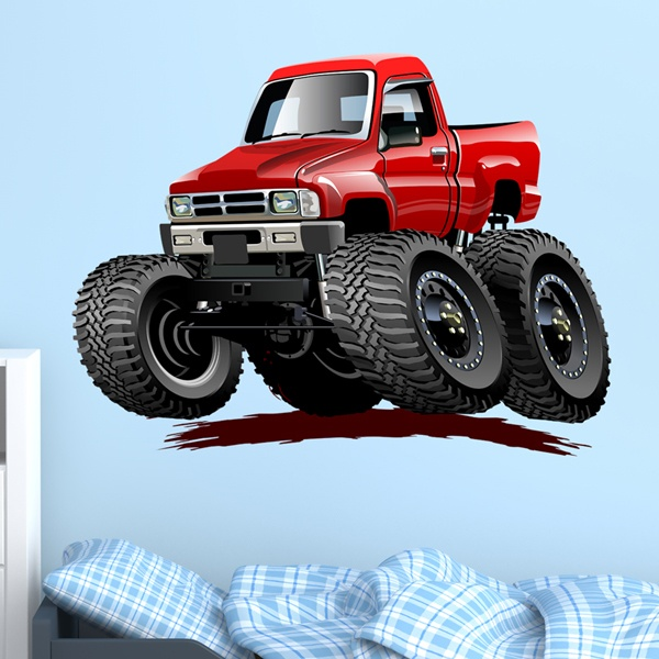 Kinderzimmer Wandtattoo: Monster Truck Pickup rot