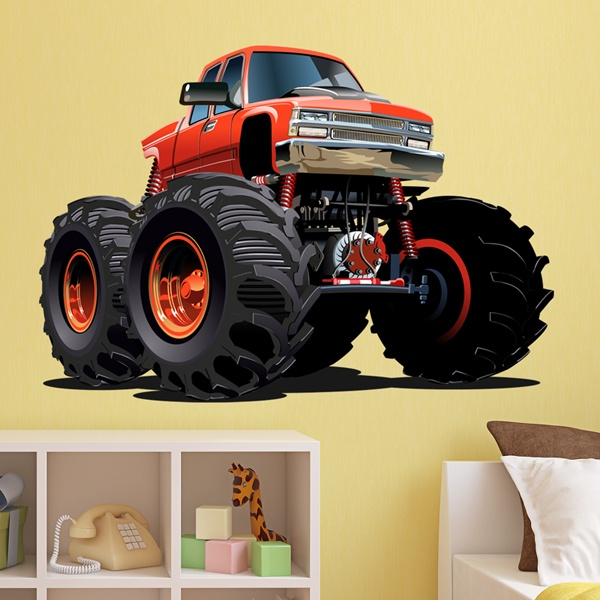 Kinderzimmer Wandtattoo: Monster Truck orange