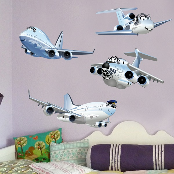 Kinderzimmer Wandtattoo: Lustiges Passagierflugzeug-Set