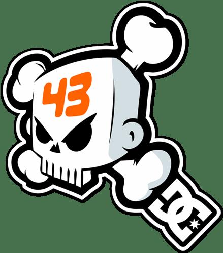 Aufkleber: Ken Block 43 DC Shoes Skull 1