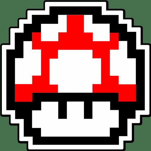 Aufkleber: Mario Bros Mushroom Red Pixel