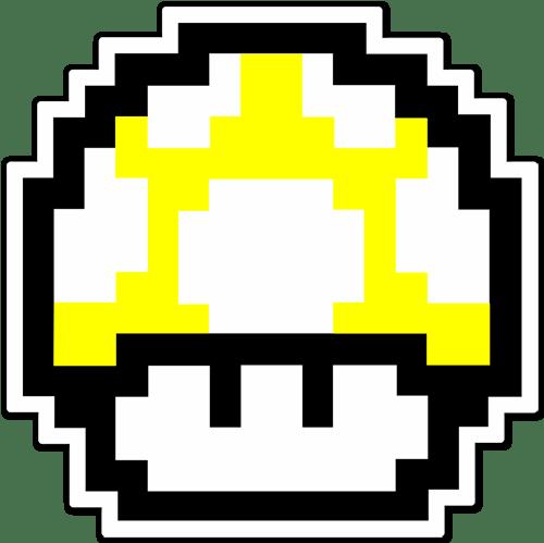 Aufkleber: Mario Bros Mushroom Farbe Pixel