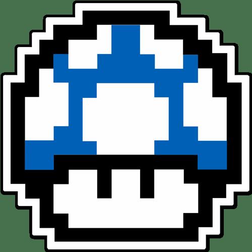 Aufkleber: Mario Bros Mushroom blau Pixel