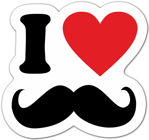 Aufkleber: I love Moustache