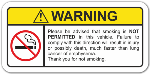 Aufkleber: Warning Not Smoke