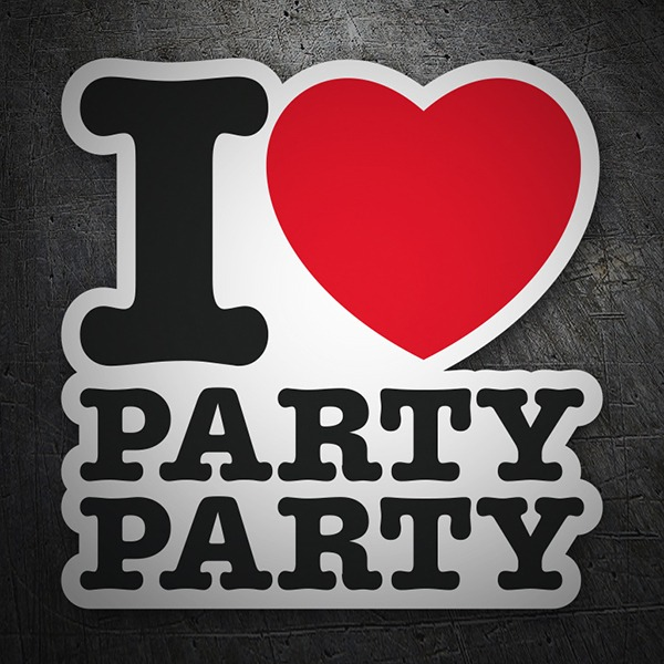 Aufkleber: I love party party