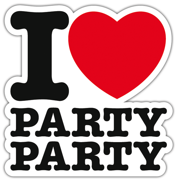Aufkleber: I love party