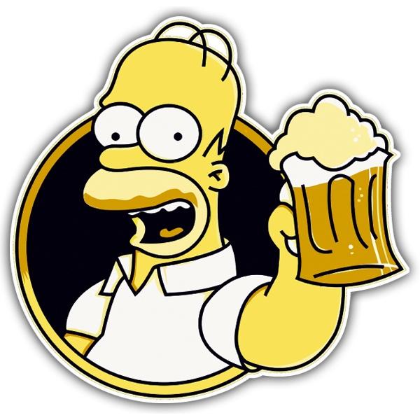 Aufkleber Homer Bier trinken | WebWandtattoo.com