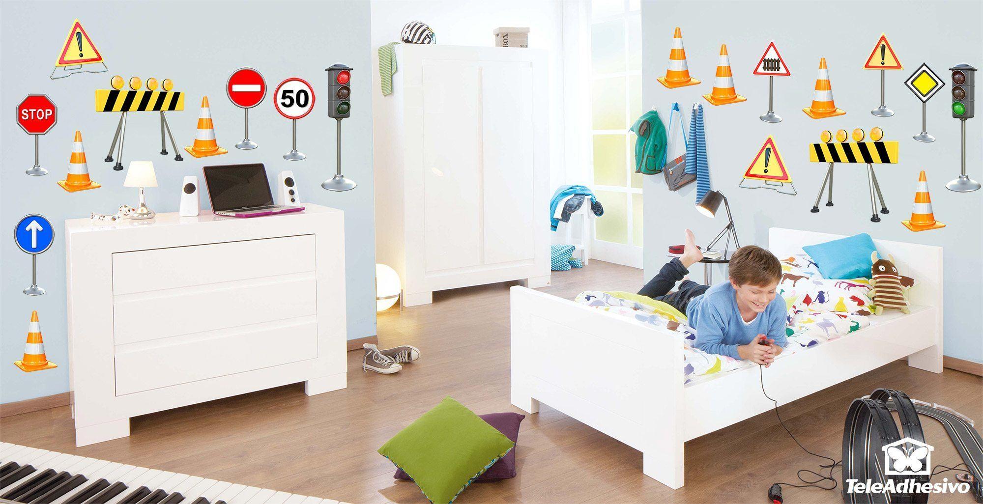 Kinderzimmer Wandtattoo: Verkehrszeichen Kit