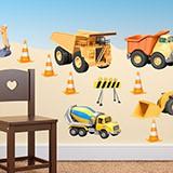 Kinderzimmer Wandtattoo: LKW Baumaschinen Kit 3
