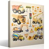 Kinderzimmer Wandtattoo: LKW Baumaschinen Kit 4