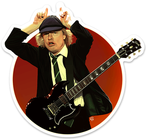 Aufkleber: Angus Young