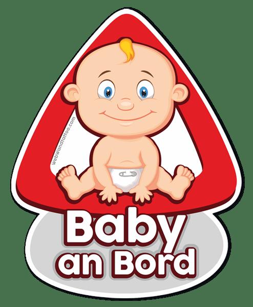 Aufkleber: Baby an Bord auf Deutsch