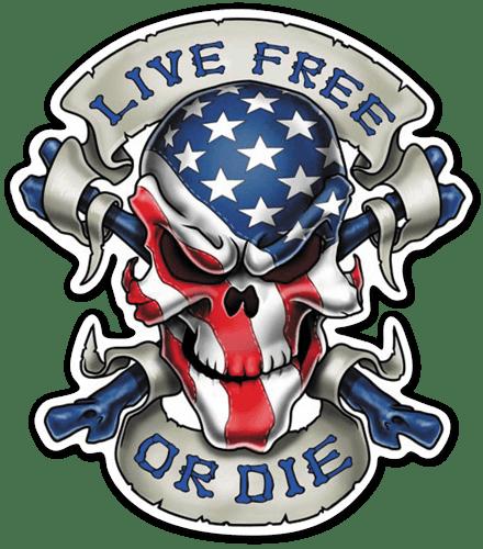 Aufkleber: Skull Live Free or Die
