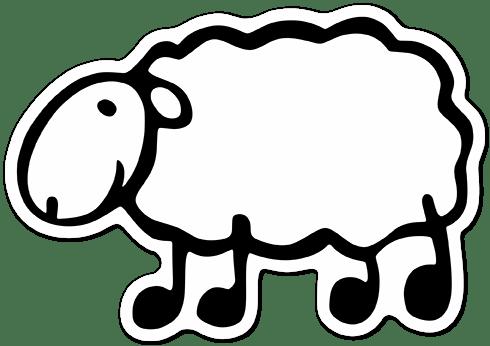 Aufkleber: Menhadenöl weiße Schafe