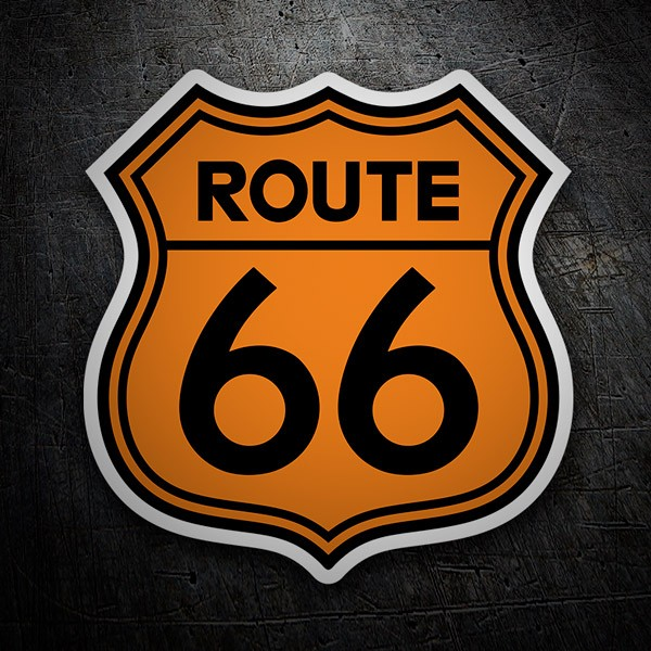 Aufkleber: Route 66 orange