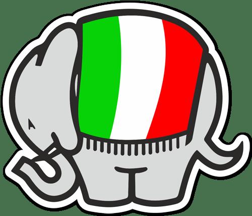 Aufkleber: Cagiva Elefant Italien-Flagge