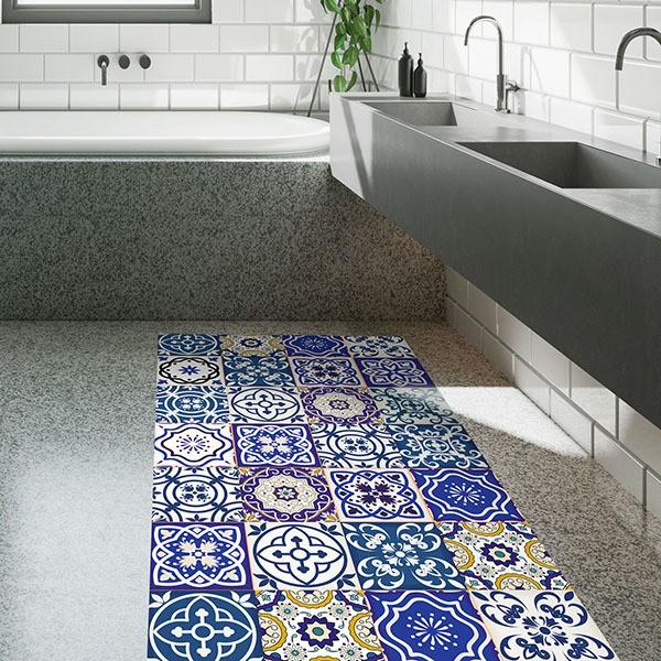 Bodenfolie Selbstklebend Indigo Mosaik Kacheln
