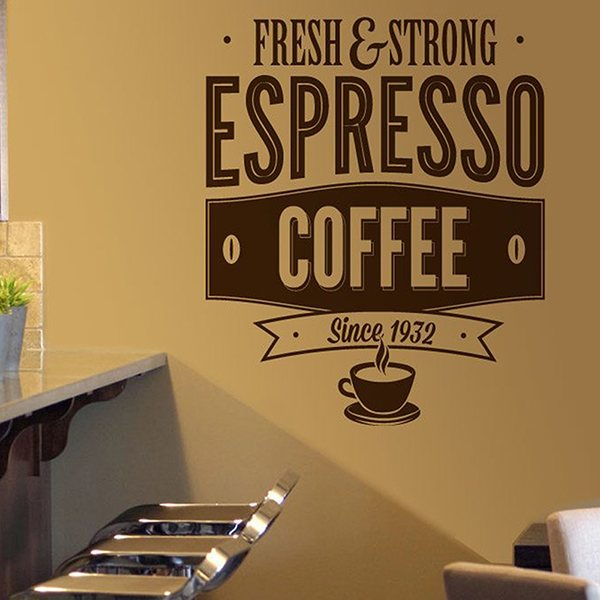 Wandtattoos: Fresh & Strong Espresso Coffee