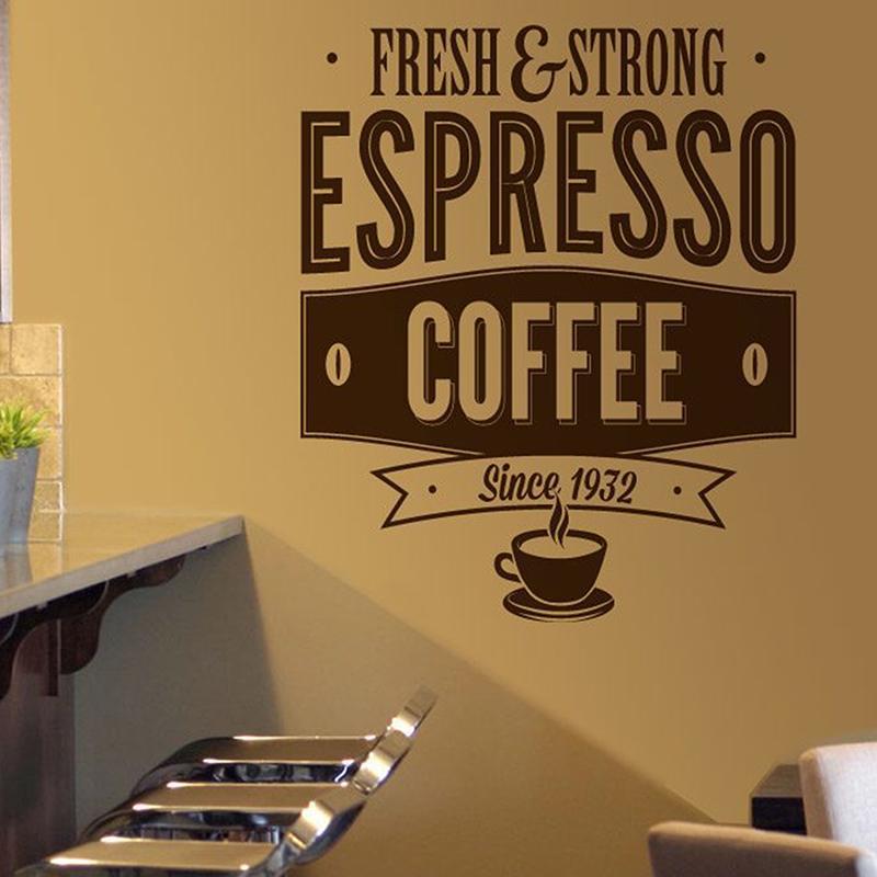 Wandtattoos: Fresh & Strong Espresso Coffee