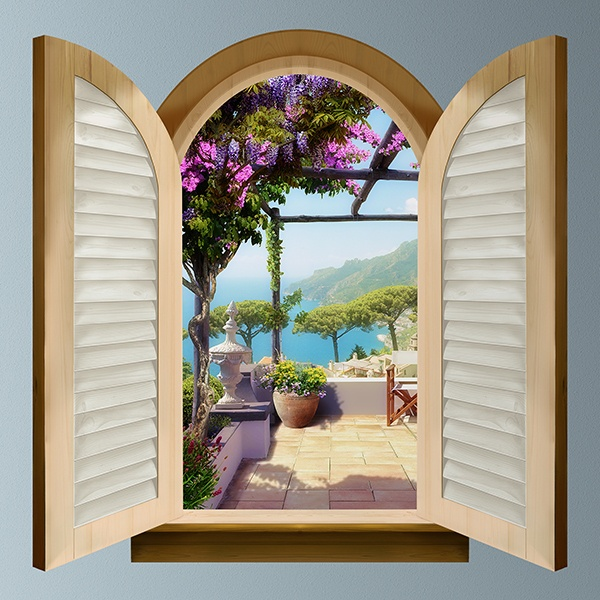 fenster terrasse mit blick auf das meer. Black Bedroom Furniture Sets. Home Design Ideas