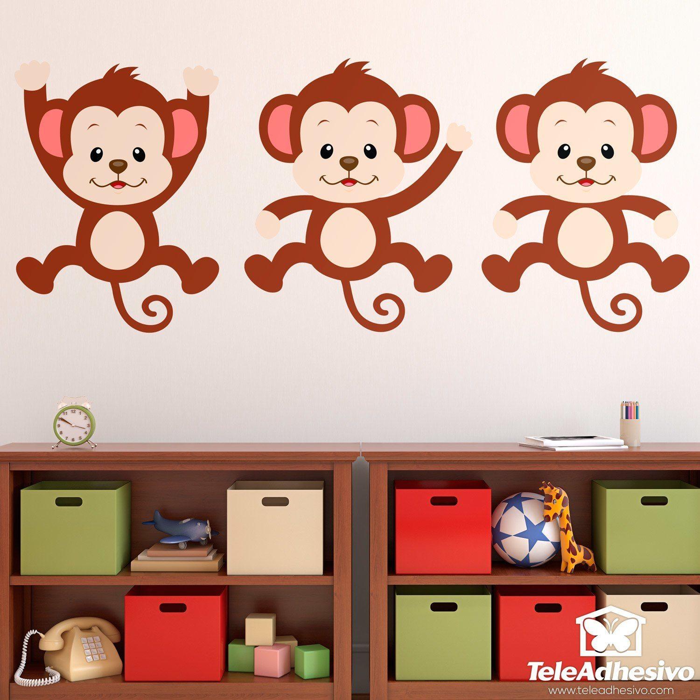 Kinderzimmer Wandtattoo: Kit 3 Affen