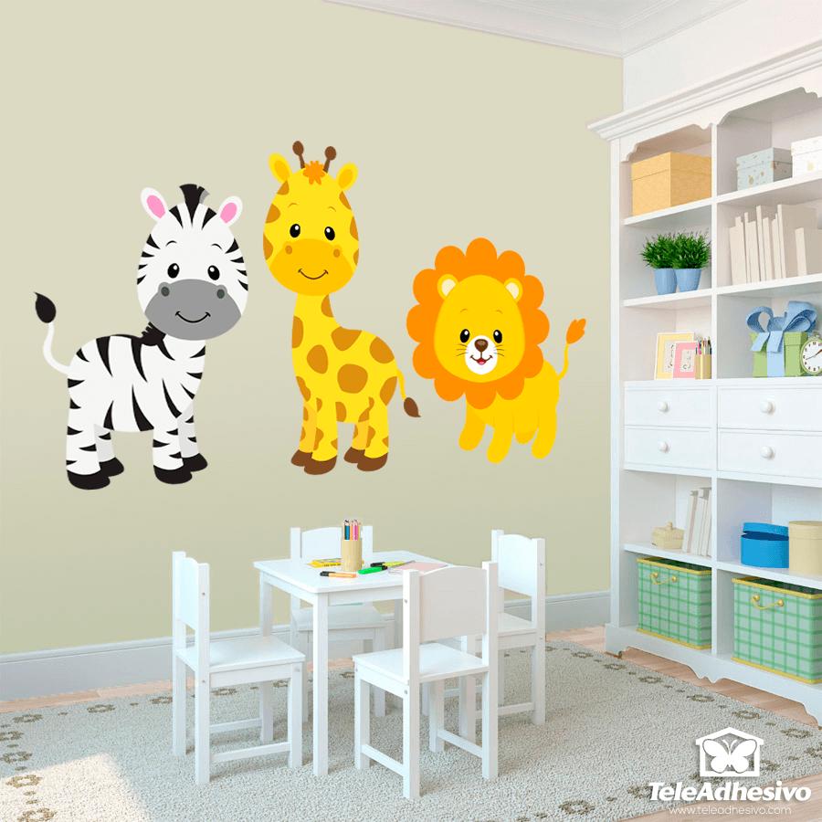Wandtattoo kinder Safari Zebra, Giraffe und Löwe | WebWandtattoo.com