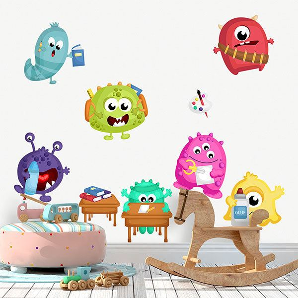 Kinderzimmer Wandtattoo: Set Monster in der Schule