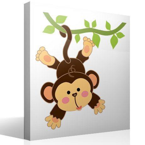 Wandtattoo kinder Affe hing an der Rebe | WebWandtattoo.com
