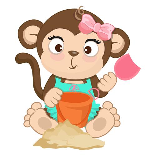 Kinderzimmer Wandtattoo: Affen beim Spielen im Sand