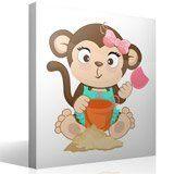 Kinderzimmer Wandtattoo: Affen beim Spielen im Sand 2