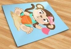 Kinderzimmer Wandtattoo: Affen beim Spielen im Sand 3