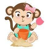 Kinderzimmer Wandtattoo: Affen beim Spielen im Sand 6