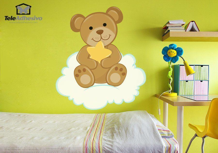 kinderzimmer wandtattoo b r mit sternen auf der wolke sitzen. Black Bedroom Furniture Sets. Home Design Ideas